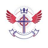 Oskrzydlony chrześcijanina krzyża emblemat komponował z królewską koroną i luxu ilustracji