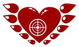 Oskrzydlony Czerwony serce Fotografia Royalty Free