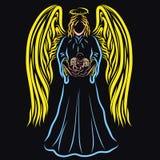 Oskrzydlony dziecko w rękach majestatyczny anioł, czarny tło royalty ilustracja