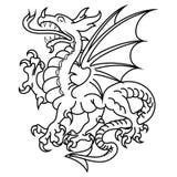 Oskrzydlony heraldyczny smok royalty ilustracja