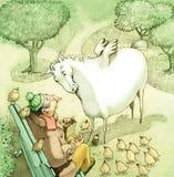 Oskrzydlony koń adoruje kruszki ilustracja wektor