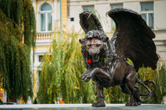Oskrzydlony lwa pomnik w Praga republika czech Zdjęcie Royalty Free