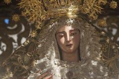 Oskuld av brödraskapet av San Roque i den heliga veckan av Seville royaltyfri bild