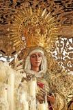 Oskuld av hopp i området av Triana, helig vecka i Seville, Andalusia, Spanien arkivbilder