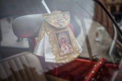 Oskuld Mary i bil arkivfoto