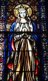 Oskuld Mary Stained Glass Window Arkivbild