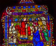 OskuldMary Priest Stained Glass Window Orsanmichele kyrka Flor Royaltyfri Bild