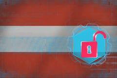 Oskyddat Österrike nätverk för internetframförande för begrepp 3d säkerhet Arkivfoto