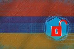Oskyddat Armenien nätverk Rengöringsdukförsvarbegrepp Arkivfoto