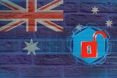 Oskyddat Australien nätverk Begrepp för elektronisk säkerhet Arkivfoto