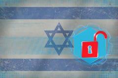 Oskyddat Israel nätverk Nätverksförsvarbegrepp Arkivfoto