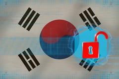 Oskyddat Republiken Korea Sydkorea nätverk Datorförsvarbegrepp Arkivfoto