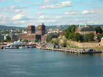 Oslo. City Hall and Akershus fortress Royalty Free Stock Images