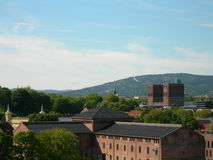 Oslo. With Akershus fortress and the City Hall Stock Photography