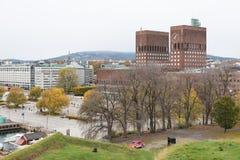 Oslo Akershus festning fortress garden park, view from parkway a. Oslo Akershus festning fortress garden park royalty free stock images