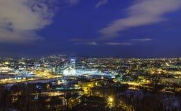 Oslo antes del amanecer, Noruega Fotos de archivo