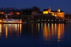 Oslo bis zum Nacht stockbilder