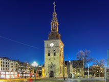 Oslo Cathedral in night, Norway Royalty Free Stock Image