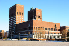 Oslo City Hall. View of Oslo City Hall against blue sky Stock Photography