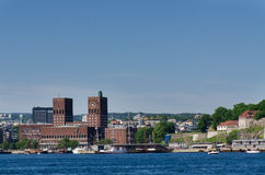 Oslo City Hall and  Akershus Fortress Royalty Free Stock Photos