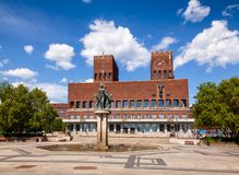 Oslo City Hall Central Oslo Norway Scandinavia. The Oslo City Hall Radhus, a municipal building and major landmark in Central Oslo, Norway, Scandinavia, known as stock photography