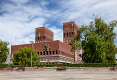 Oslo City Hall Central Oslo Norway Scandinavia. The Oslo City Hall Radhus, a municipal building and a venue for the Nobel Peace Prize ceremony, a major landmark stock photo