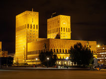 Oslo City Hall. At night. Norway Stock Images