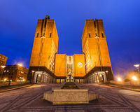 Oslo City Hall. At night in Norway Royalty Free Stock Photo