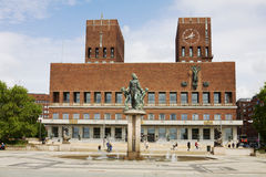 The Oslo City Hall in Norway. The Oslo City Hall is house of the city council and city administration. The house was built in 1950. Here takes place the Nobel stock photo