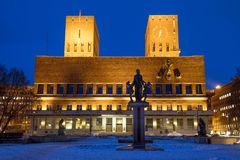 Oslo City Hall. At night in Norway Stock Images