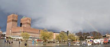 Oslo city hall, panoramic Royalty Free Stock Photography