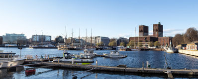 Oslo city hall, panoramic Royalty Free Stock Photography