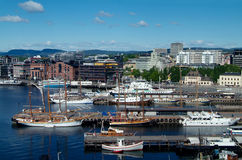 Oslo, the City Hall quay. Boats at the quay in front of the City Hall of Oslo, Norway Royalty Free Stock Photos