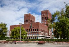 Oslo City Hall Central Oslo Norway Scandinavia. The Oslo City Hall Radhus, a municipal building and a venue for the Nobel Peace Prize ceremony, a major landmark royalty free stock photography