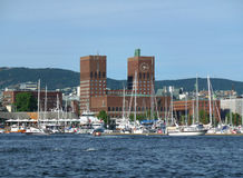 Oslo City Hall on the Waterfront of Oslo Harbor Royalty Free Stock Photography