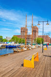 Oslo City Hall and wooden pier of Fjord, Norway stock images