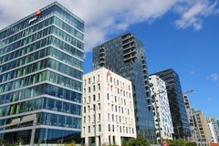 Oslo City, Norway. OSLO, NORWAY - AUGUST 2, 2015: Architecture of Bjorvika district in Oslo. It is a part Fjord City, major urban redevelopment project for Oslo royalty free stock photos