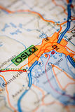 Oslo City on a Road Map Royalty Free Stock Image