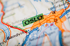 Oslo City on a Road Map Stock Photos