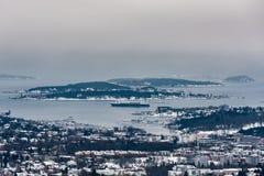 Oslo in de winter Noorwegen Stock Foto's