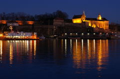 Oslo em a noite imagens de stock