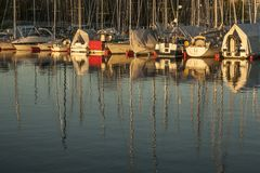 Oslo-fjord, boats and their reflections. Royalty Free Stock Image