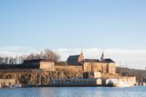 Oslo Fjord harbor and Akershus Fortress Stock Photos