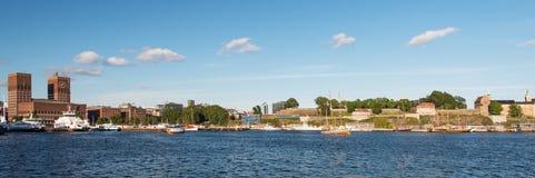 Oslo Fjord harbor City Hall Akershus Fortress Stock Image