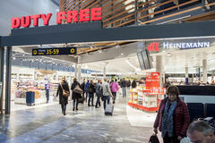 OSLO GARDERMOEN, NORWAY - NOVEMBER 3:Interior of Duty Free Shop Royalty Free Stock Images