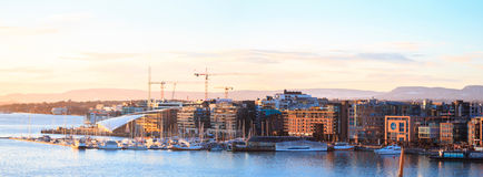 Oslo-Hafen Panorama Lizenzfreies Stockfoto