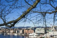 Oslo - le fjord - bateaux, cieux bleus et eaux Photographie stock libre de droits