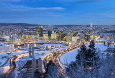 Oslo linii horyzontu zimy ranek obrazy royalty free