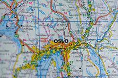 Oslo on map. Close up shot of Oslo on a map Stock Images