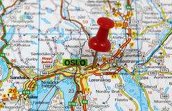 Oslo. Map with pin point of oslo in norway royalty free stock images